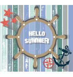 Summer Card with marine wheel vector image