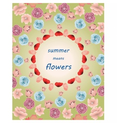 Summer colorful multiple flowers pattern vector image vector image