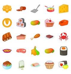 sushi icons set cartoon style vector image