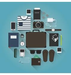 Traveler equipment set vector image vector image