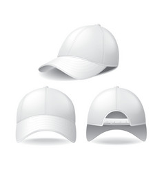 White baseball cap isolated on white vector image vector image
