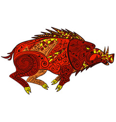 wild boar animal in doodle style zentangle vector image