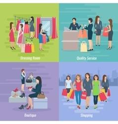 Woman shopping flat concept vector