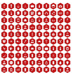 100 barber icons hexagon red vector