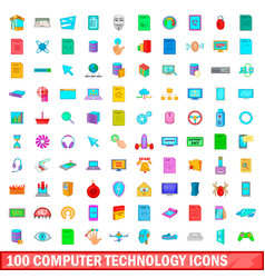 100 computer technology icons set cartoon style vector image vector image