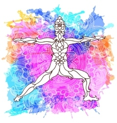 Decorative yoga pose on the abstract multicolored vector