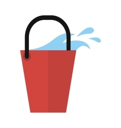 Red bucket icon with water isolated cleaning tool vector