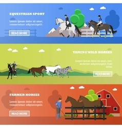 Set of horizontal banners on horses theme vector