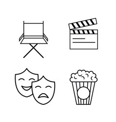 Cinema entertainment flat icons vector