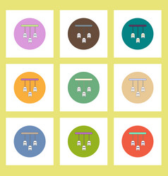 Flat icons halloween set ghost party decoration of vector