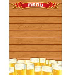 Blank pub menu wooden background vector