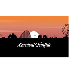 Carnival funfair scenery at sunset silhouette vector