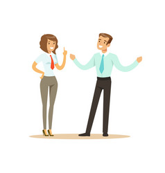 Smiling businessman and businesswoman having vector