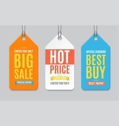 Sale label paper tag hanging set vector