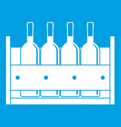 Four bottles of wine in a wooden box icon white vector