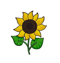 Pop art style sunflower sticker vector