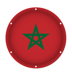 Round metallic flag of morocco with screw holes vector