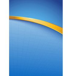 Modern blue folder template with golden rim vector