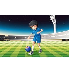A boy at the field using the flag of New Zealand vector image