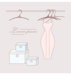 Dress with hangers in wardrobe vector