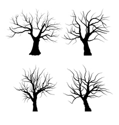 Collection set of trees silhouettes isolated vector