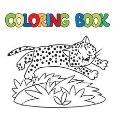 Coloring book of little cheetah or jaguar vector