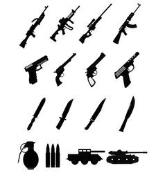 Military weapons icons set vector