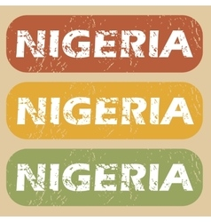 Vintage nigeria stamp set vector