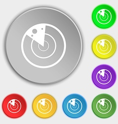 Radar icon sign symbols on eight flat buttons vector