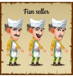 Set of three emotions an elderly man seller vector