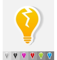 Realistic design element broken light bulb vector