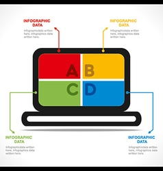 Creative laptop info-graphics design vector