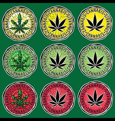 Textured cannabis leaf stamps vector
