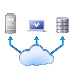 Sever DB and laptop connected to cloud computing vector image