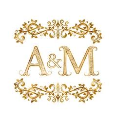 Am vintage initials logo symbol letters a m vector