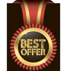 Best offer golden label with red ribbons vector image vector image