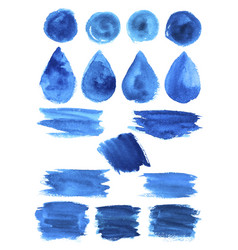 Blue watercolor blob stains shapes icons vector