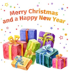 Card with Christmas and New Year Collection of vector image