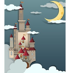 Castle scene at night time vector