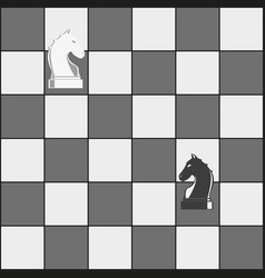 chess board and horses pieces vector image