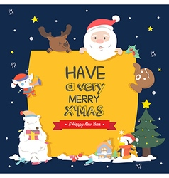Christmas character holding christmas board vector image vector image