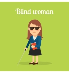 Disabled blind woman vector
