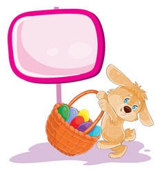 easter bunny holding a basket for hunting vector image vector image
