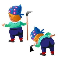 Female gardener with hoe in two poses isolated vector image
