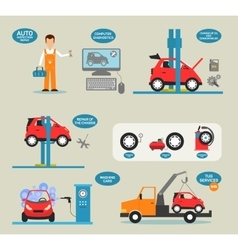 Flat design concepts for car service vector image