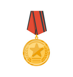 golden medal with red ribbon icon vector image vector image
