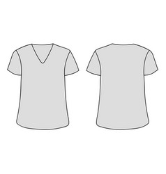 Gray unisex v neckline t-shirt template vector