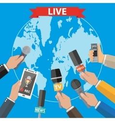 Journalism live report hot news vector
