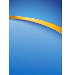 Modern blue folder template with golden rim vector