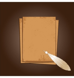 old paper with feather vector image vector image